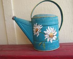 Vintage Watering Can - Hand Painted Daisies