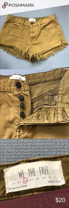 "Olive denim cutoff shorts Free people. Like new. ""Cutoff"" style. Free People Shorts Jean Shorts"