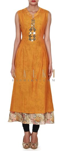 Buy this Mustard kurti adorn in mirror embellished placket only on Kalki