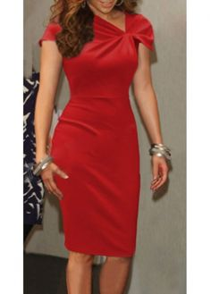 c54024c3f3d Red V Neck Knee Length Dress with cheap wholesale price