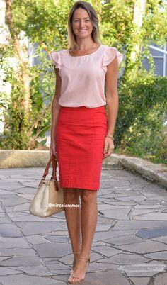 Look de trabalho - look do dia - look corporativo - moda no trabalho - work outfit - office outfit -  spring outfit - look executiva - look de verão  - summer outfit - saia lápis vermelha - red anda pink - pink and red
