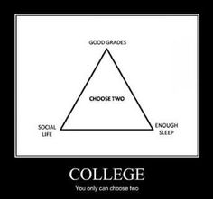This isn't even funny because it's so true. I'm attempting sleep and good grades at this time. no social life :-/ College Humor, College Life, Dorm Life, College Hacks, School Humor, College Sport, Funny College, College Success, College Quotes