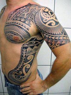 Mens Ribs Hawaiian Tattoo Designs