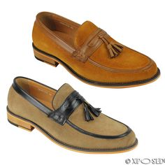 FunnyBao Mens Genuine Leather Casual Slip On Penny Loafers Shoes