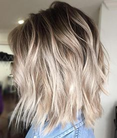 Ash Blonde Balayage Bob With Root Fade