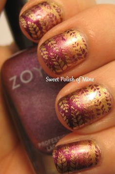 2 coats Maybelline Bold Gold gradient with Bold Gold and Zoya Carly stamped Bold Gold, Carly, Mash-44