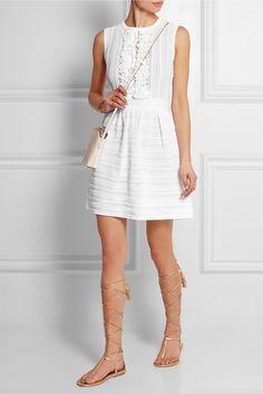 Valentino|Lace-paneled ruffled knitted mini dress|NET-A-PORTER.COM