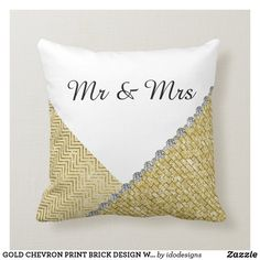 GOLD CHEVRON PRINT BRICK DESIGN WEDDING PILLOW Ring Bearer Pillows, Ring Pillow, Gold Pillows, Throw Pillows, Wedding Pillows, Gold Chevron, Cushion Ring, Brick Design, Ceremony Decorations