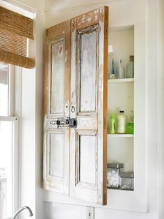 Old Shutters - Attached together and used for Medicine Cabinet doors. Dishfunctional Designs: New Takes On Old Doors: Salvaged Doors Repurposed Salvaged Doors, Old Doors, Front Doors, Casa Magnolia, Old Shutters, Repurposed Shutters, Vintage Shutters, Vintage Doors, Bedroom Shutters