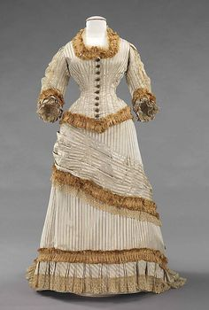 1878-80 silk striped dress. More info & pics on Met Museum page: http://ow.ly/mNkJz