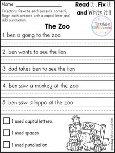 Capitalization Worksheet Free to print (PDF file) for