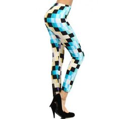 """Fabric Content: 95% Polyester/ 5% SpandexFree SizeAll Around Measurements: Waist 23"""" Hip 28"""" Rise 9.5"""" Inseam 27.5"""" Length 37"""" ankle 10""""Let's get digital with these modern and futuristic looking pair of leggings."""