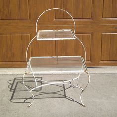 Vintage Wrought Iron Glass Patio Plant Table Stand Shabby Chippy White