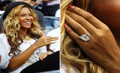 Beyoncé Knowles engagement ring from Jay Z. Carter is an 18 carat emerald cut diamond valued at a cool $5 million. They married on April 4, 2008.
