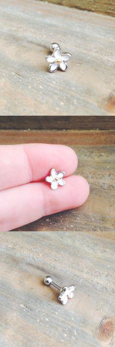 Cute Ear Piercing Jewelry Studs at MyBodiArt.com - Daisy Enamel Silver Piercings 16G