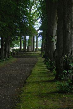 Avenue to a folly. Glorup manor, Denmark