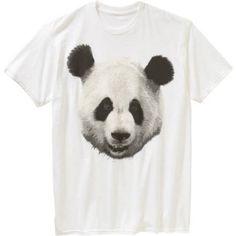 Panda Face Men's Graphic Tee, Size: Large, White