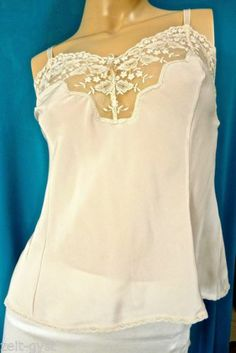 WACOAL BEIGE SILKY POLYESTER-NYLON EMBROIDERED LACE PRINCESS CAMI-PEARL BOW-34