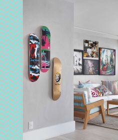 (This would be great for all the skateboards around the apartment. & attempting to make these too from Ryanu0027s used boards | Kids stuff ...