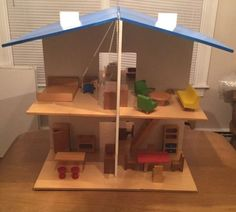1969-Creative-Playthings-Dollhouse-w-6-Rooms-Of-Furniture-Boxed-Made-in-Finland