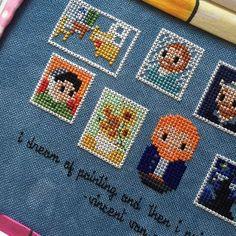 Hungarian Embroidery Stitch Some more progress on my Van Gogh Mini Gallery! Cross Stitch Bookmarks, Mini Cross Stitch, Beaded Cross Stitch, Chain Stitch, Cross Stitch Embroidery, Embroidery Patterns, Cross Stitch Patterns, Stitch 2, Hungarian Embroidery