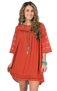 Umgee Women's Rust with Lace Trim 3/4 Sleeve Shift Dress | Cavender's