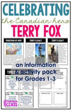 Posters, information, and activities about Terry Fox and his life, the Marathon of Hope, and his legacy for primary students. 1st Grade Activities, Social Studies Activities, Teaching Social Studies, Student Teaching, Science Activities, Teaching Ideas, Second Grade Science, Fallen Book, Information Poster