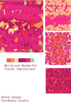 "Donna Senger's collection for our ""Weird and Wonderful Flowers"" design challenge in #TheTextileDesignLab"