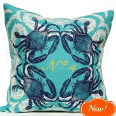 Yellow-Lime, navy blue crab images are tossed on this wonderful brightly colored beach house cushion.  #crabpillow #coastalpillow