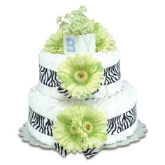 Bloomers Baby Diaper Cake-Safari Lime Green Daisies with Zebra Print - Small 2-Tier