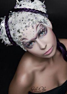 Creative purple bejeweled fantasy makeup by Olga Gila Sminkes with photo by Fekete Róbert.