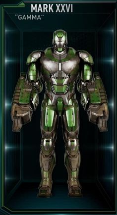 This armor is the twenty-sixth Iron Man suit created by Tony Stark, and one of the many armors he developed after the battle for New York against Loki and the Chitauri. The attack had left him with the feeling that the world couldn't be safe for long, and that he needed to build more suits until the next time Earth was in danger. The Gamma suit was among those summoned by Stark to battle Extremis-enhanced soldiers assisting Aldrich Killian's plot. It was controlled at the time by Stark's...