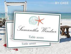 Printable escort card, wedding place cards template Tiffany blue, sea, beach wedding pattern by Oxee, DIY editable, Word