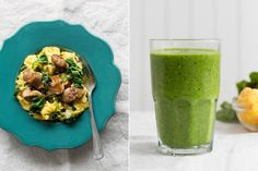 Kale brings the iron into this breakfast powerhouse, while chia seeds deliver the omega-3s. It's common to wait till the weekend to whip up a hearty breakfast—and so unnecessary. Busy weekdays are when we need all that protein the most. This scramble comes together in 15 minutes, and will fuel you all the way to lunchtime. #paleo #glutenfree #dairyfree #soyfree