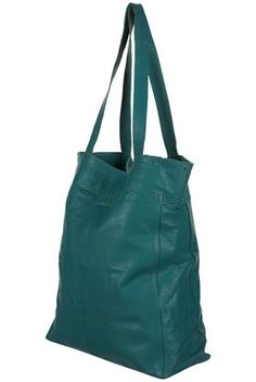 Topshop Teal Leather Brogue Detail Shopper