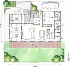 平屋間取り集の間取り図 House Layout Plans, House Layouts, House Plans, Japan House Design, Floor Plans, Flooring, How To Plan, Interior Design, Architecture