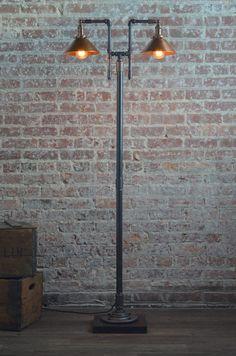 Copper Floor Lamp Industrial Floor Lamp by newwineoldbottles