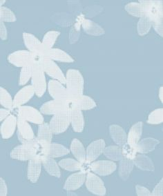 Flower Flock (2564) - Eco Wallpaper Wallpapers - An stylised flower design in white velvet flock with a pixilated effect. Shown on a matt pale blue background. Please request a sample for true colour match. Paste-the-wall product.