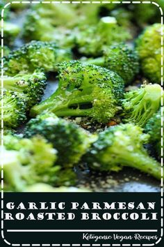 Garlic Parmesan Roasted Broccoli - This comes together so quickly with just 5 min prep. Plus, it's the perfect and easiest side dish to any meal! Healthy Eating Recipes, Vegan Recipes Easy, Real Food Recipes, Vegetarian Recipes, Chicken Recipes, Drink Recipes, Dessert Recipes, Garlic Roasted Broccoli, Garlic Parmesan
