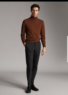 The Spring/Summer 2020 Massimo Dutti clothing, accessories and shoe collection for women, men or kids; Stylish Winter Outfits, Simple Outfits, Cool Outfits, Casual Outfits, Stylish Men, Men Casual, Blazer Outfits Men, Turtleneck Shirt, Suit And Tie