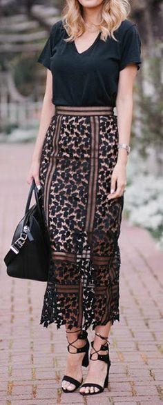 Black lace midi skirt.