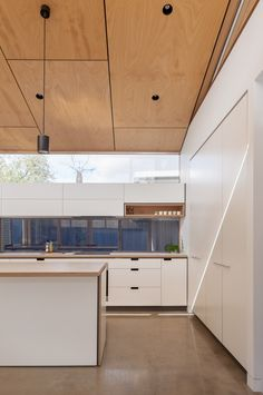 The Secret to Custom Kitchen Rennovation Done in Melbourne - fiihaamay Plywood Ceiling, Timber Ceiling, Home Ceiling, Wood Ceilings, Raked Ceiling, Low Ceiling Basement, Ceiling Windows, Plywood Interior, Plafond Design