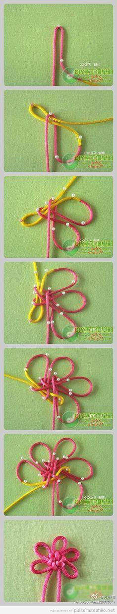 Tutorial paso a paso, hacer una flor para pulsera con hilo de cola de ratón