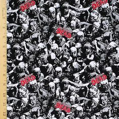 Walking Dead Fabric, Walking Dead Zombies Fabric, 100% Cotton Fabric by the Yard
