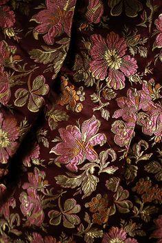 Silk walking dress (detail), probably American, ca. The Metropolitan Museum of Art Victorian Fabric, Victorian Era, Victorian Fashion, Vintage Fashion, Black Choker Necklace, Dark Autumn, Shades Of Burgundy, Brocade Fabric, Historical Clothing