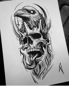 Skull Tattoo Design, Tattoo Design Drawings, Tattoo Sleeve Designs, Tattoo Sketches, Drawing Sketches, Sleeve Tattoos, Sketch Art, Owl Sketch, Tribal Art Tattoos