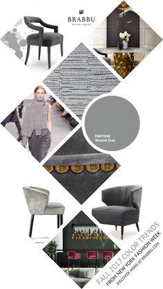 Fall 2017 Color Trends From London Fashion Week: Neutral Gray   Interior Design Inspiration @Pantone #colortrends #falltrends #colors See more inspiration: https://www.brabbu.com/moodboards/