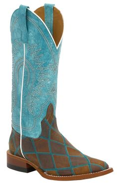 Anderson Bean® Women's Distressed Brown Patchwork withBlue Top Square Toe Cowboy Boot