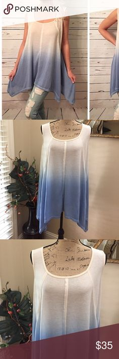 🦋Sleeveless sharkbite hacci ombré tunic! 🦋Sleeveless sharkbite hacci ombré tunic! This is a stunning loose fit flowy-well made summer tunic. Perfect for all your BOHO needs!! NWT. boutique Tops Tunics