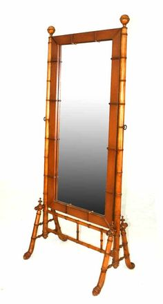 American Victorian RJ Horner Faux Bamboo Cheval Mirror. c 1890.